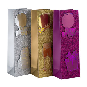 Kundengebundener Logo-Druck-flache untere behandelte Luxuspapier-Wein-Tasche in der Tongle-Verpackung
