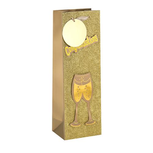 Logotipo modificado para requisitos particulares que imprime el bolso de papel de lujo manejado inferior plano del vino en el embalaje de la llave