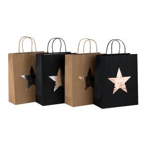 Aufbereitete Gewohnheit druckte Pentagram-Muster-natürliche Kraftpapier-Tasche in der Tongle-Verpackung