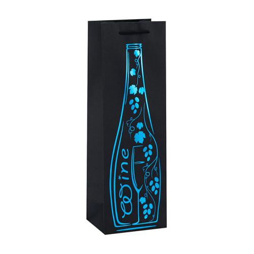 Bolso de empaquetado impreso vino de encargo del vino de papel negro con el sellado caliente en el embalaje de la llave