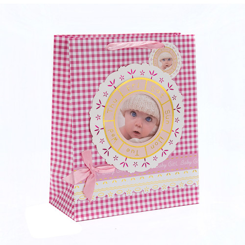 Druck Baby Custom Special Design Papier Geschenktüte mit Hang Tag mit unterschiedlicher Größe mit 2 Designs Assorted in Tongle Verpackung