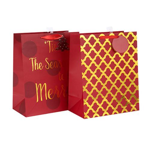Bolsa de papel impresa aduana reciclable del regalo 2018 del regalo de la Navidad con la etiqueta de la caída con diverso tamaño con 2 diseños clasificados en embalaje de la llave