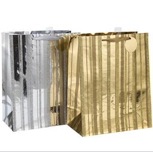 Ribbon Handles Custom Design Own Logo Print Bolsa de papel diario con etiqueta colgante con diferentes tamaños con 2 diseños surtidos en embalaje de palanca