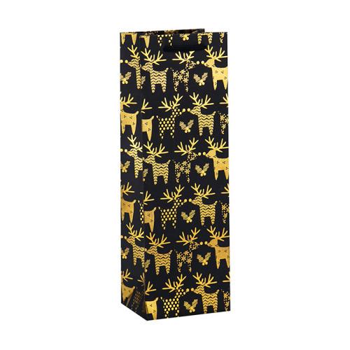 Bolso de vino de lujo con la bolsa de papel de la parte inferior plana modificada para requisitos particulares del logotipo en el embalaje de la llave