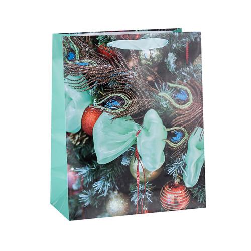 Cartón que empaqueta la bolsa de papel que hace compras de la Feliz Navidad en el embalaje de la llave