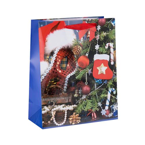 Bolsa de empaquetado al por mayor del papel del regalo del cordón de la Navidad en el embalaje de la llave
