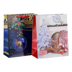Hohe Qualität Frohe Weihnachten Geschenk Papier Verpackung Tasche mit Griffen in Tongle Verpackung