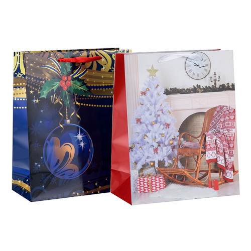 Bolso de alta calidad del embalaje del papel del regalo de la Feliz Navidad con las manijas en el embalaje de la llave