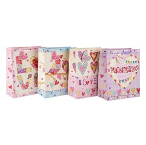 Bolsas de regalo de papel de diseño nuevo y bolsas de compras para el día de San Valentín en embalaje de Tongle