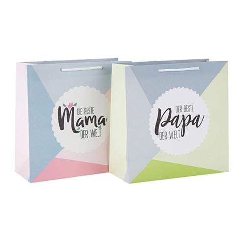 Modische Custom Printed Dekoration Büttenpapier Taschen mit Fallmarke mit unterschiedlicher Größe mit 2 Designs Assorted in Tongle Verpackung