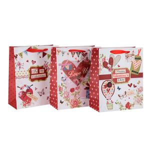 ハートスタイルのバレンタインデーのギフトペーパーバッグ、3つのデザインと異なるサイズのハングタグ付きカスタムロゴ付きTongle Packing