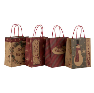 Bolsa de papel al por mayor del regalo de las compras de Brown Kraft de la Navidad con las manijas en el embalaje de la llave