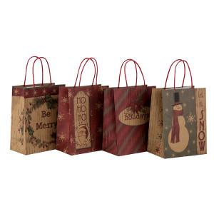 Sac fait sur commande en papier fait sur commande de cadeau de Noël de Kraft de Brown avec des poignées dans l'emballage de Tongle