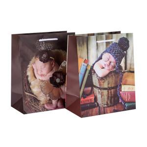 Kundenspezifisches druckendes dekoratives Luxus-Baby-Geschenk-Brown-Papiertüte in der Tongle-Verpackung