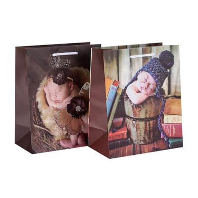 Bolso de papel de lujo decorativo de Brown del regalo del bebé de la impresión en el embalaje de la llave
