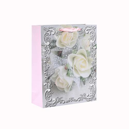 Estampado de flores impreso personalizado Varios tamaños Bolsa de regalo de papel con 4 diseños surtidos en embalaje de la llave