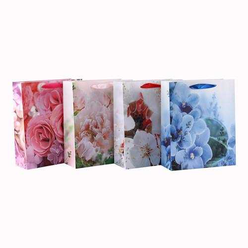 Hohe Qualität Blumen Verschiedene Größen Glitter Ribbon Griff Papier Geschenktüte mit 4 Designs Assorted in Tongle Verpackung