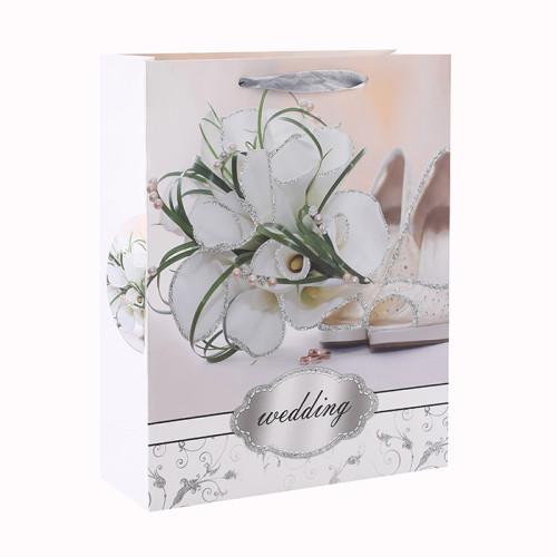 Bolso de papel blanco del regalo del brillo romántico del estilo de la flor de la cartulina con 4 diseños clasificados en embalaje de la llave