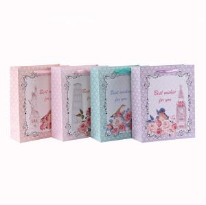 Beste Wünsche für Sie Blumen-und Vogel-Art-Geschenk-Papiertüte mit 4 Designs Assorted in Tongle-Verpackung