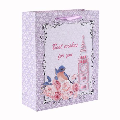 Mis mejores deseos para ti Bolsa de papel de regalo estilo flor y pájaro con 4 diseños surtidos en embalaje de palanca