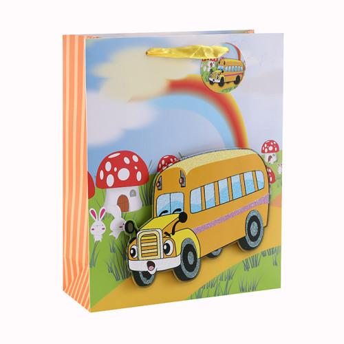 Bolso plegable del regalo de la cinta del papel de la cartulina blanca 3D y del brillo con 4 diseños clasificados en embalaje de la llave