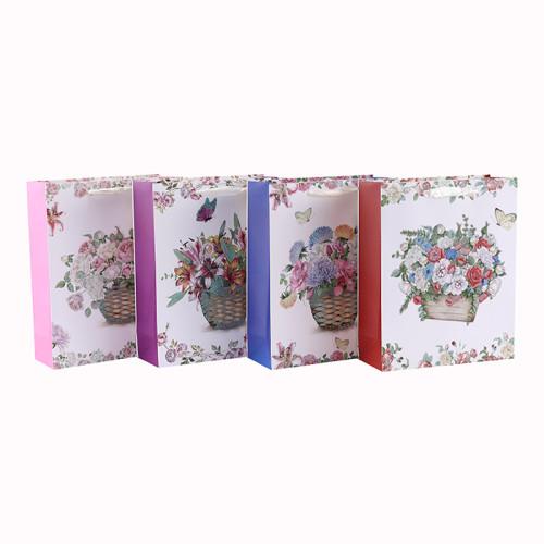 Weiße Pappblumen-Design-Band-Griff-Papiergeschenktasche mit 4 Entwürfen sortierte in der Tongle-Verpackung