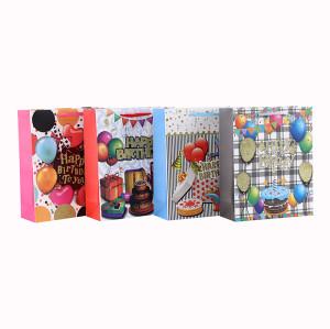 Personnalisé de diverses tailles 4C impression sac de papier cadeau d'anniversaire avec 4 dessins assortis dans l'emballage de Tongle