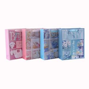 Kundenspezifische rosa und blaue LuxusGlitter-Baby-Papier-Geschenktaschen mit 4 Entwürfen sortierten in der Tongle Verpackung
