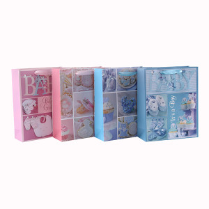 カスタマイズされたピンクとブルーのラグジュアリーキラキラベビーペーパーギフトバッグは、4つのデザインとトングパッキングで盛り合わせ