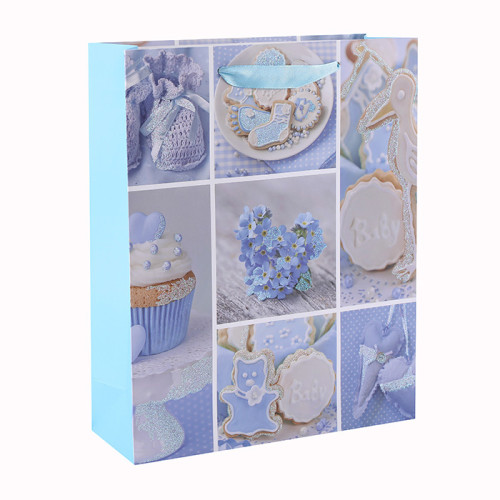 Bolsos de regalo personalizados de lujo rosa y azul bebé papel brillo con 4 diseños surtidos en embalaje de la llave