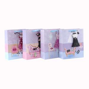 Роскошный декоративный пользовательский 3D и блеск подарочный бумажный мешок с 4 дизайнами в ассортименте Tongle Packing