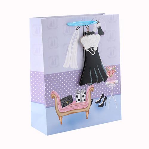 Bolsa de papel decorativa de lujo personalizada 3D y brillo regalo con 4 diseños surtidos en embalaje de llave