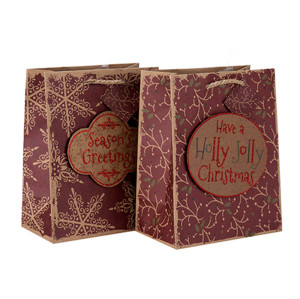 Chine Usine En Gros De Haute Qualité Festival De Noël Cadeau Papier Sac avec 2 Dessins Assortis en Tongle Emballage