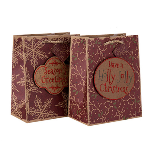 Bolso de papel de alta calidad del regalo de la Navidad del festival de la fábrica de China al por mayor con 2 diseños clasificados en embalaje de la llave