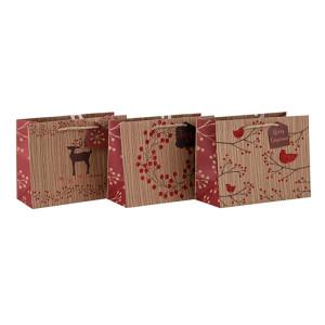 大規模なまたはカスタマイズされたサイズリサイクルされたカスタム紙袋は、3つのデザインと異なるサイズのTongleパッキングで盛り合わせ