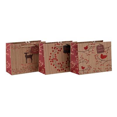 Große oder kundengebundene Größe aufbereitete kundenspezifische Papiertüte mit unterschiedlicher Größe mit 3 Entwürfen sortierte in der Tongle-Verpackung