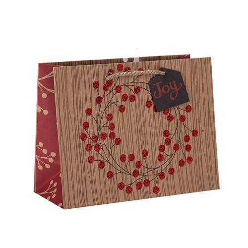 Bolsa de papel personalizada reciclada tamaño grande o personalizada con diferentes tamaños con 3 diseños surtidos en embalaje de palanca