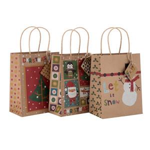 En gros réutilisé transportant le cadeau faisant des emplettes achats des sacs en papier de taille faite sur commande avec la taille différente avec 3 conceptions assorties dans l'emballage de Tongle