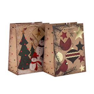 Заводская цена Эко-дружественный прочный бумажный мешок нестандартного размера с разным размером с 2-мя дизайнами, сортированными в упаковке Tongle