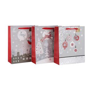 Qualitäts-kundenspezifische Größen-Farbdruck-Geschenk-Papier-Weihnachtstasche mit unterschiedlicher Größe mit 3 Auslegungen sortierte in der Tongle-Verpackung