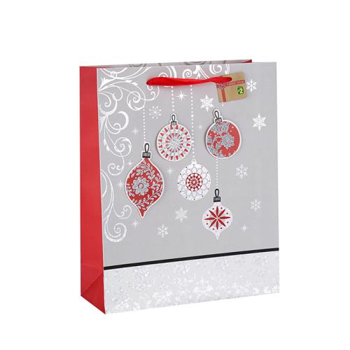 Bolso personalizado de la Navidad del papel del regalo de la impresión en color de los tamaños de alta calidad con diverso tamaño con 3 diseños clasificados en embalaje de la llave