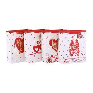 Herz-Stil Valentinstag Papier Geschenk-Taschen mit Hang-Tag mit 4 Designs Assorted in Tongle-Verpackung