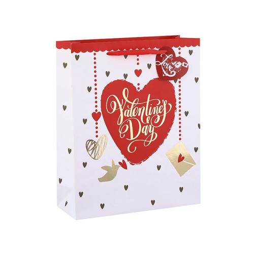Bolsas de regalo de papel estilo corazón de San Valentín con etiqueta colgante con 4 diseños surtidos en embalaje de llave
