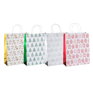 環境にやさしいリサイクルされた光沢のあるカスタムデザイン印刷用紙は、4つのデザインと異なるサイズのキャリーバッグをタングルパッキングで揃えています