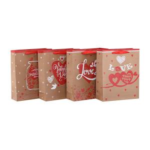 Sacs de cadeau de papier de nouvelle conception de haute qualité de conception de Saint-Valentin avec 4 conceptions assorties dans l'emballage de Tongle