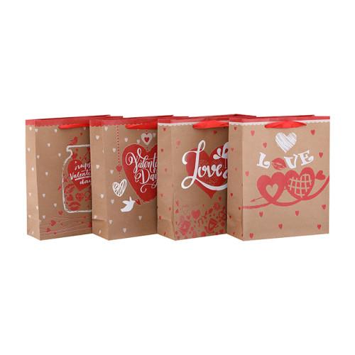Hohe Qualität Neue Design Boutique Valentinstag Papier Geschenk-Taschen mit 4 Designs Assorted in Tongle Verpackung