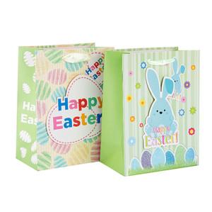En gros Pâques Personnalisé Durable et Recyclable Cadeau Papier Sac avec Différentes Taille avec 2 Dessins Assortis en Tongle Emballage