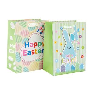 Bolsa de papel al por mayor durable y reciclable de encargo del regalo de Pascua con diverso tamaño con 2 diseños clasificados en embalaje de la llave