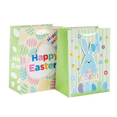 Großhandels-kundengerechte dauerhafte und recyclebare Geschenk-Papiertüte Ostern mit unterschiedlicher Größe mit 2 Entwürfen sortierte in der Tongle-Verpackung
