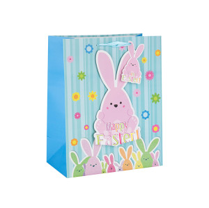 Factory Price Eco-Friendly Material Recycled Customized Paper Bag with Different Size with 2 Designs Assorted in Tongle Packing